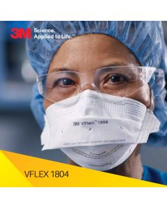3M 1804 Vflex Niosh N95 Health Care Particulate Respirator and Surgical Mask, Individually Sealed
